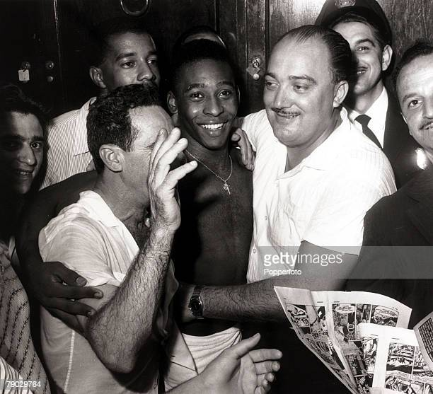 Sport/Football in South America December 1961 Brazil's Pele is pictured surrounded by admirers as his club Santos have won the Taca do Brasil Pele...