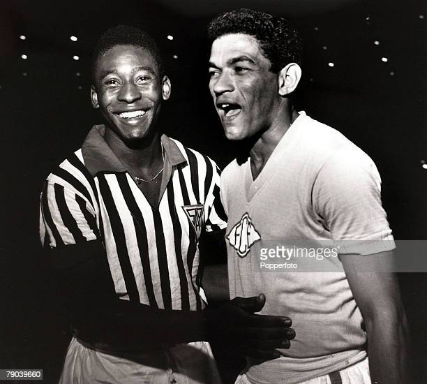 Sport/Football in South America Pele in his club colours of Santos, left, with Garrincha, both stars of the Brazilian national team