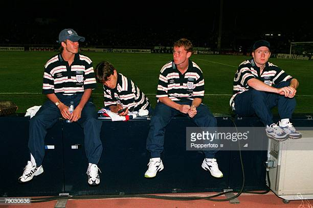 Sport/Football International Friendly King Hassan II Cup Casablanca 29th May 1998 Belgium 0 v England 0 Manchester United quartet LR David Beckham...
