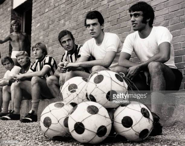 Sport/Football Italy 5th August 1971 Juventus players are pictured after training at Villar Perosa near Turin LR Francesco Morin Gianluigi Roveda...