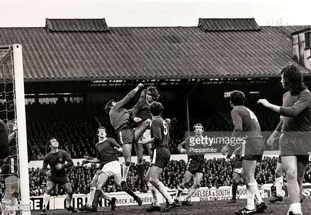 Sport/Football League Division One Stamford Bridge London England 9th January 1971 Chelsea 1 v Manchester United 2 Chelsea goalkeeper Peter Bonetti...