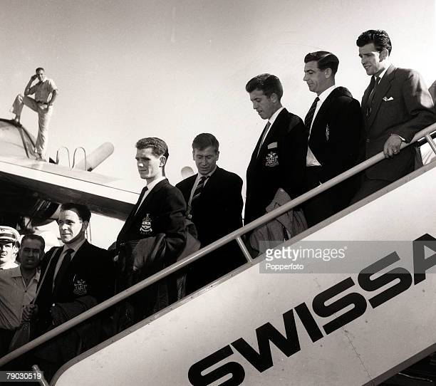 Sport/Football May 1959 England arrive in Brazil to play the national side LR Norman Deeley Ron Clayton Bobby Charlton Peter Broadbent Johnny Haynes...