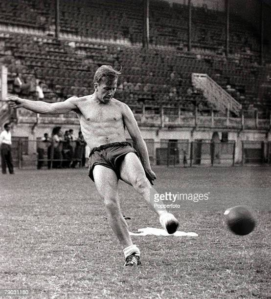 Sport/Football May 1959 England in Brazil England forward Bobby Charlton training bare chested in the heat of Brazil preparing for the game of May...