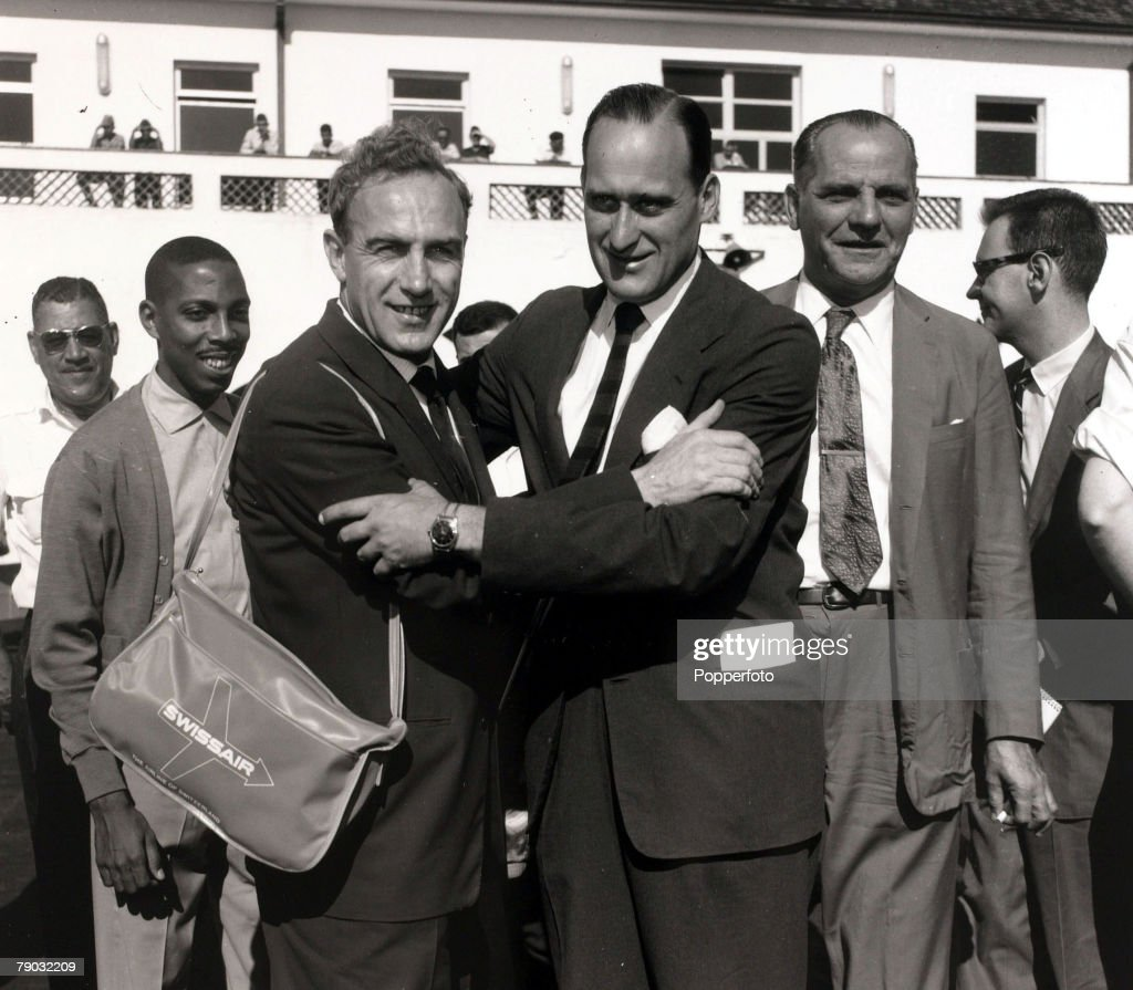Sport/Football, May 1959, England's Billy Wright is greeted at the airport by Brazil's Joao Havelange, England were in Brazil to play the national side on May 13th 1959 losing to Brazil 2-0