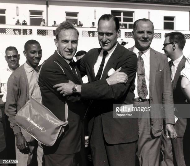 Sport/Football May 1959 England's Billy Wright is greeted at the airport by Brazil's Joao Havelange England were in Brazil to play the national side...