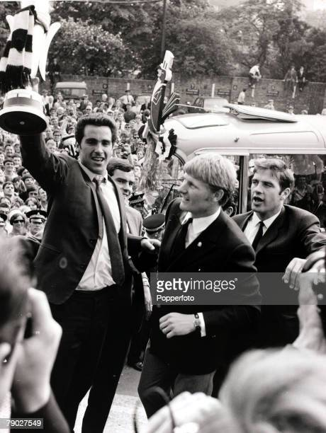 Sport/Football Newcastle England 12th June 1969 Newcastle United captain Bobby Moncur holds aloft the Inter Cities Fairs Cup as the team tour...