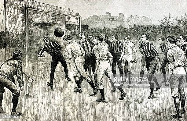 English Cup Final at Kennington Oval, Blackburn Rovers v Notts County This illustration shows a goalmouth incident in the Final