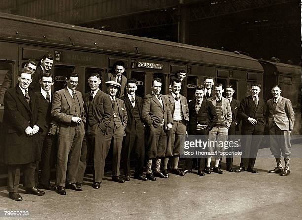 Sport/Football South America Motherwell Football Club on tour in Argentina May and June 1928 Photo shows The Motherwell team gathered on the platform...