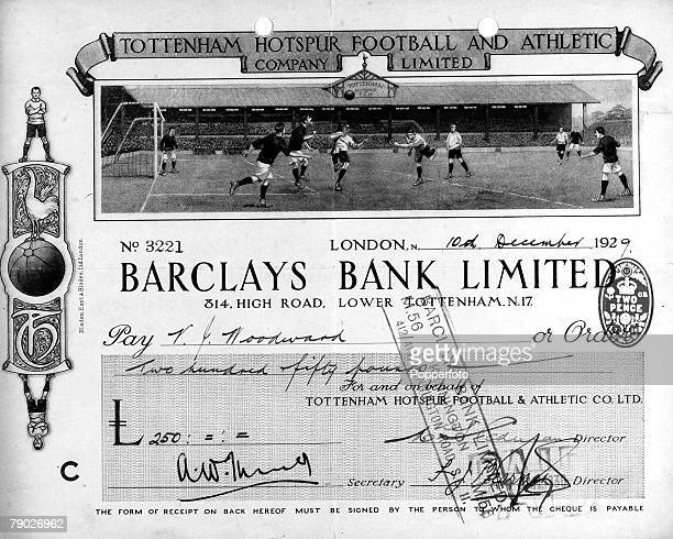 Sport/Football/Finance A Barclays Bank cheque shows a Tottenham Hotspur Football and Athletic Company Limited special edition with football...