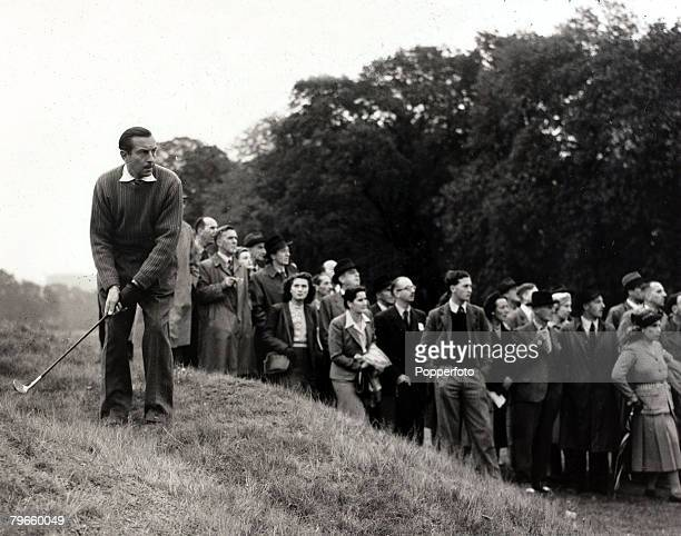 Sport/Golf England 16th October 1947 British Ryder Cup player Henry Cotton practising for the event at the Royal MidSurrey Golf Club Richmond Surrey