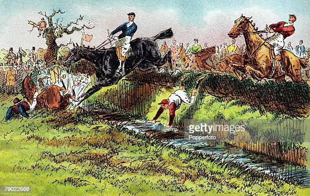 Sport/Horse Racing The Grand National Steeplechase Aintree Liverpool England Illustration The 1839 Grand National the first National at Aintree shows...