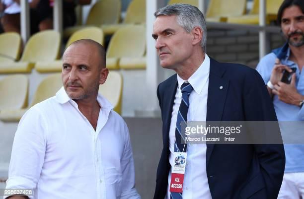 Sportif Director of FC Internazionale Milano Piero Ausilio and CEO of FC Internazionale Alessandro Antonello look on before the preseason friendly...