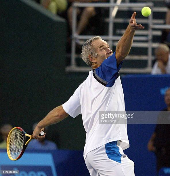 Sportimes' John McEnroe serves during action against Mardy Fish of the Houston Wranglers. The New York Sportimes defeated the Houston Wranglers,...