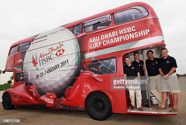 HSBC Sporting Amabssadors Jonathan Davies Tim Henman Chris Cairns and Gavin Hastings pose for a photograph during the second round of The Abu Dhabi...