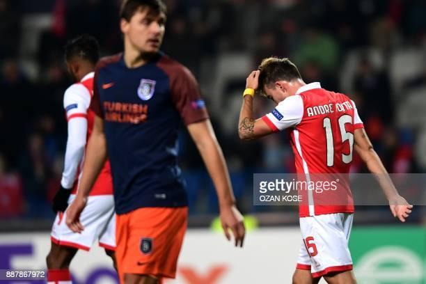 Sporting Braga's Andre Horta reacts during the UEFA Europa League football match Istanbul Basaksehir FK vs SC Braga at the Fatih Terim Stadium on...