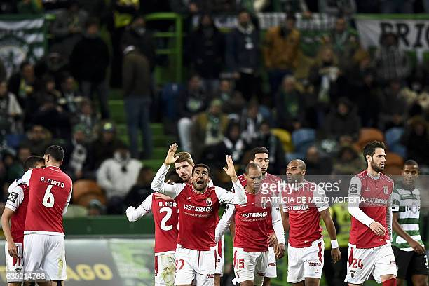 Sporting Braga's Brazilian defender Marcelo Augusto Ferreira Teixeira celebrates a goal by teammate Braga's forward Wilson Eduardo's goal during the...