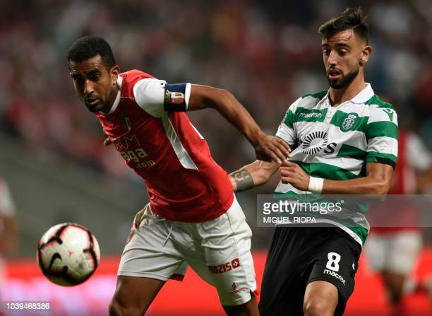 Sporting Braga's Brazilian defender Marcelo Goiano vies with Sporting's Portuguese midfielder Bruno Fernandes during the Portuguese league football...