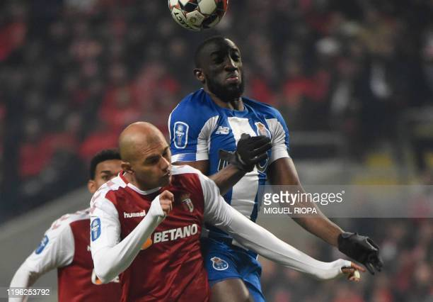 Sporting Braga's Brazilian defender Raul Silva vies with FC Porto's Malian forward Moussa Marega during the Portuguese Taca da Liga or League Cup...