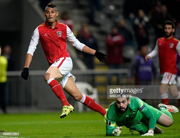 Sporting Braga's Brazilian forward Crislan celebrates after scoring a goal past Slovan Liberec's goalkeeper Tomas Koubek during the UEFA Europa...