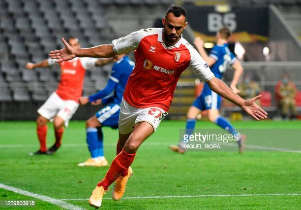 Sporting Braga's Brazilian midfielder Fransergio celebrates after scoring a goal during the UEFA Europa League group G football match between...