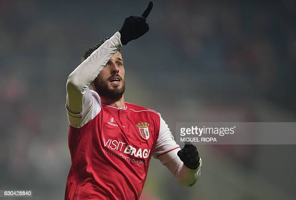 Sporting Braga's defender Ricardo Ferreira celebrates after scoring a goal during the Portuguese league football match SC Braga vs Moreirense FC at...