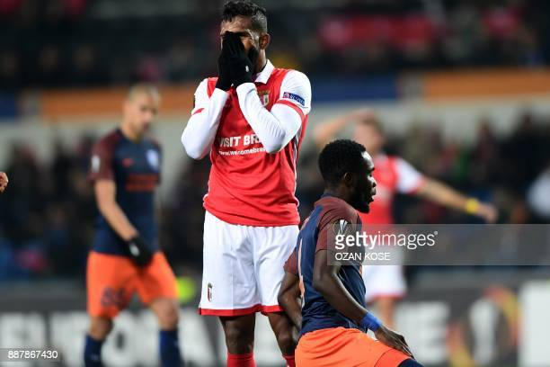 Sporting Braga's Dyego Sousa reacts after failing to score during the UEFA Europa League football match Istanbul Basaksehir FK vs SC Braga at the...