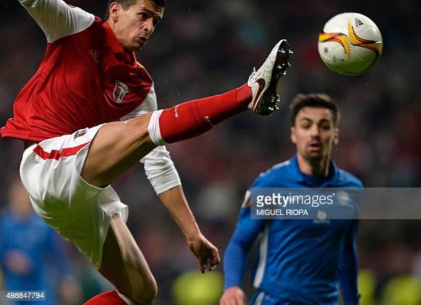 Sporting Braga's forward Rui Fonte jumps for the ball next to Slovan Liberec's defender David Hovorka during the UEFA Europa League Group F football...