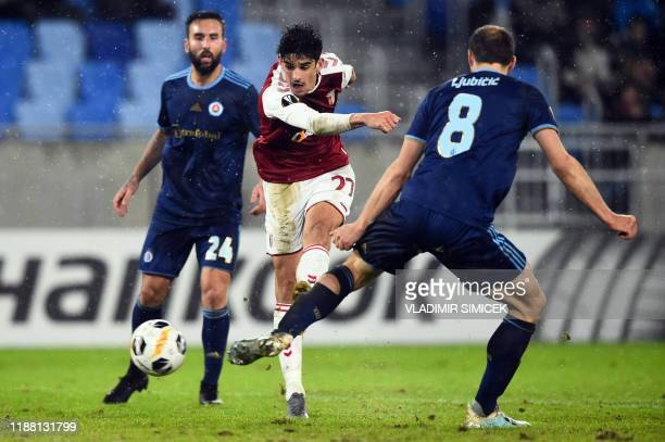 Sporting Braga's Portugese forward Trincao Francisco scores during the UEFA Europa League Group K football match between SK Slovan Bratislava and SC...