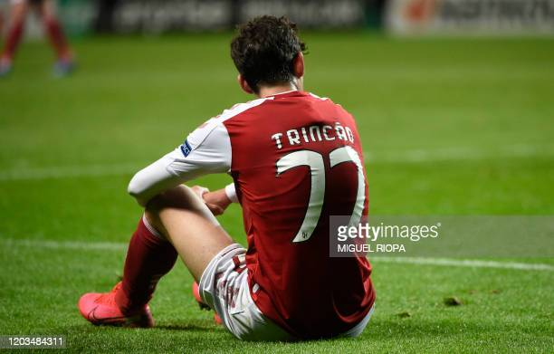 Sporting Braga's Portuguese forward Francisco Trincao reacts at the end of the UEFA Europa League round of 32 second leg football match between SC...