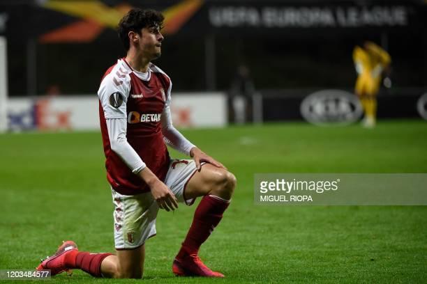 Sporting Braga's Portuguese forward Francisco Trincao reacts during the UEFA Europa League round of 32 second leg football match between SC Braga and...
