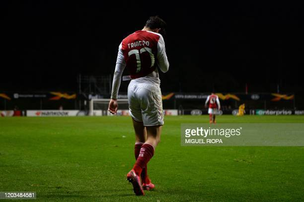 Sporting Braga's Portuguese forward Francisco Trincao walks off the pitch at the end of the UEFA Europa League round of 32 second leg football match...