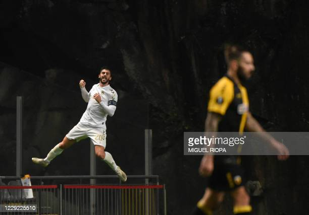 Sporting Braga's Portuguese forward Joao Paulo Dias Fernandes celebrates after scoring a goal during the UEFA Europa League group G football match...