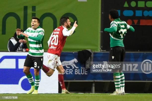 Sporting Braga's Portuguese forward Paulinho celebrates after scoring a goal during the Portuguese Taca da Liga semifinal football match between SC...
