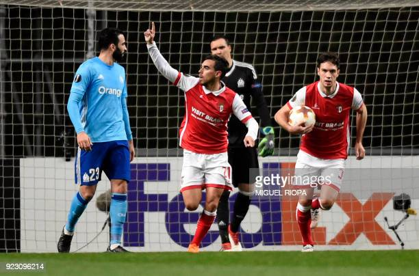 Sporting Braga's Portuguese forward Ricardo Horta celebrates after scoring a goal during the Europa League Round of 32 second leg football match...