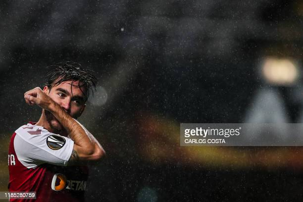 Sporting Braga's Portuguese midfielder Andre Horta celebrates after scoring a goal during the UEFA Europa League Group K football match between SC...