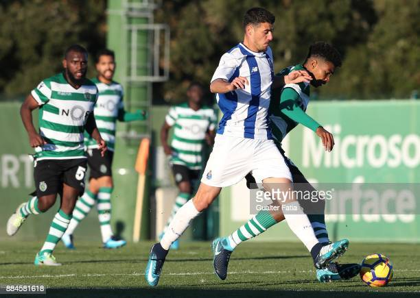 Sporting CP B defender Ivanildo Fernandes with FC Porto forward Andre Pereira from Portugal in action during the Segunda Liga match between Sporting...