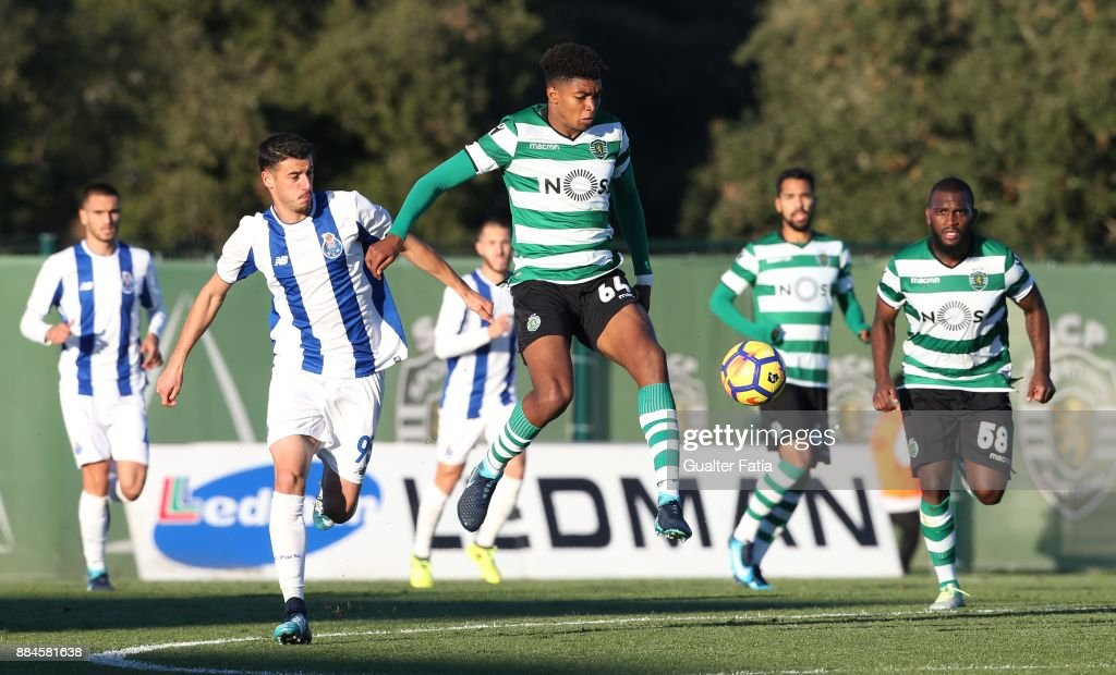 Sporting CP B defender Ivanildo Fernandes with FC Porto forward Andre Pereira from Portugal in action during the Segunda Liga match between Sporting CP B and FC Porto B at CGD Stadium Aurelio Pereira on December 2, 2017 in Alcochete, Portugal.