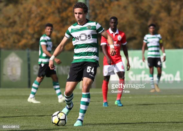 Sporting CP B forward Pedro Marques in action during the Segunda Liga match between Sporting CP B and SL Benfica B at CGD Stadium Aurelio Pereira on...