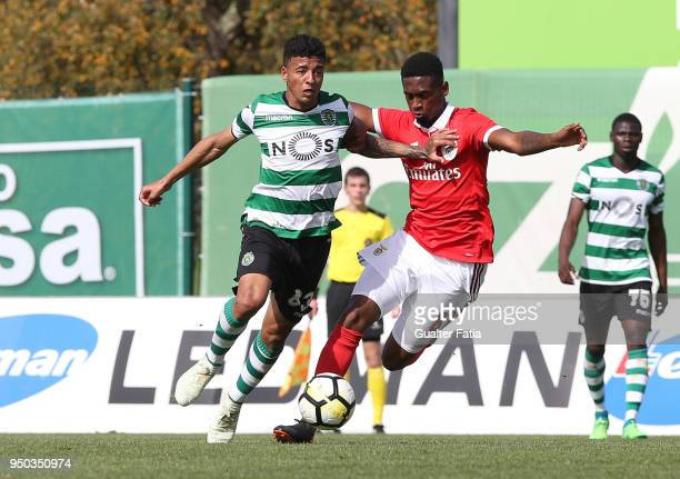 Sporting CP B midfielder Paulinho with SL Benfica midfielder Diogo Mendes from Portugal in action during the Segunda Liga match between Sporting CP B...