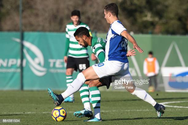 Sporting CP B midfielder Pedro Delgado with FC Porto defender Diogo Dalot from Portugal in action during the Segunda Liga match between Sporting CP B...