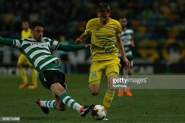 Sporting CP defender Andre Pinto from Portugal and Astana's midfielder Marin Tomasov from Croatia during the UEFA Europa League match between between...