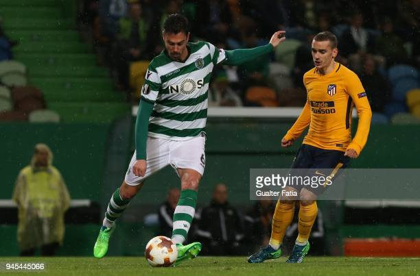 Sporting CP defender Andre Pinto from Portugal with Club Atletico de Madrid forward Antoine Griezmann from France in action during the UEFA Europa...