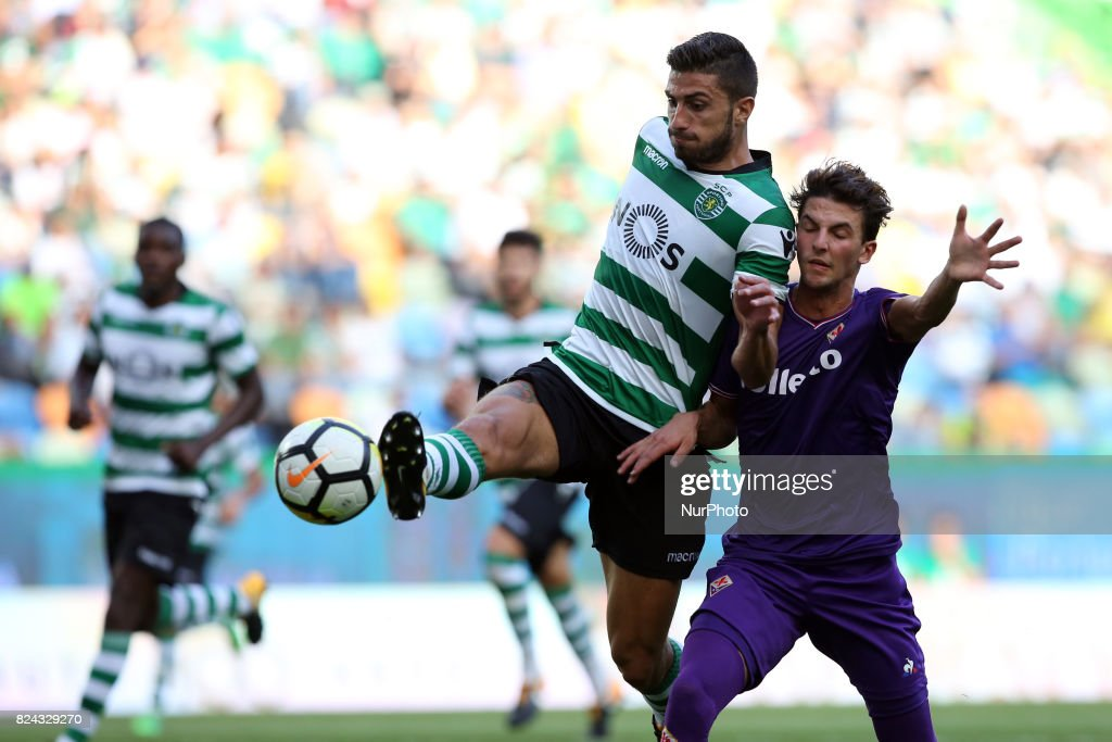 Sporting CP defender Cristiano Piccini from Italy (L ) fights for the ball with Fiorentina forward Rafik Zekhnini from Norway (R ) during the Trophy Five Violins 2017 final football match Sporting CP vs ACF Fiorentina at Alvadade stadium in Lisbon, Portugal on July 29, 2017.