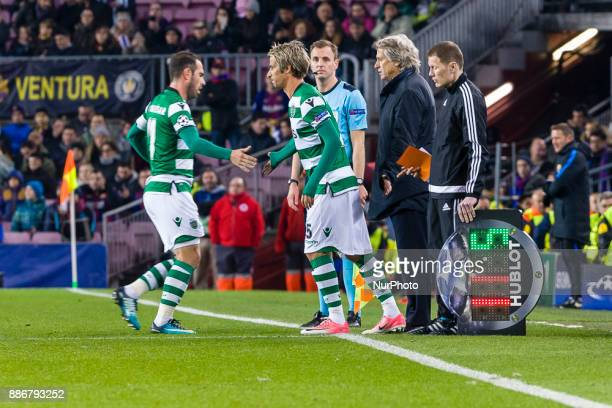 Sporting CP defender Fabio Coentrao during the match between FC Barcelona Sporting CP for the group stage round 6 of the Champions League held at...