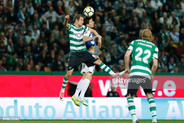 Sporting CP Defender Fabio Coentrao from Portugal and FC Porto Defender Marcano from Spain during the Sporting CP v FC Porto Portuguese Cup semi...