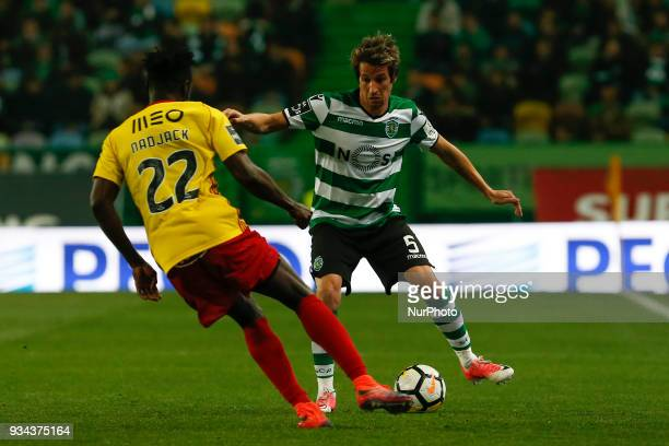 Sporting CP defender Fabio Coentrao from Portugal during Premier League 2017/18 match between Sporting CP and Rio Ave FC at Alvalade Stadium in...