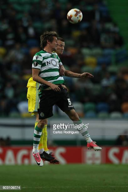 Sporting CP defender Fabio Coentrao from Portugal heads the ball during UEFA Europa League Round of 32 match between Sporting Lisbon and FC Astana at...