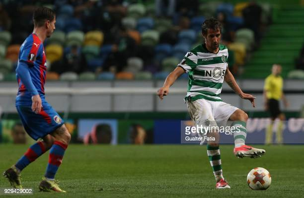 Sporting CP defender Fabio Coentrao from Portugal in action during the UEFA Europa League Round of 16 First Leg match between Sporting CP and FC...