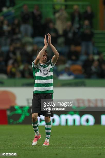 Sporting CP defender Fabio Coentrao from Portugal thanks the supporters during the Portuguese Primeira Liga match between Sporting CP and Rio Ave FC...