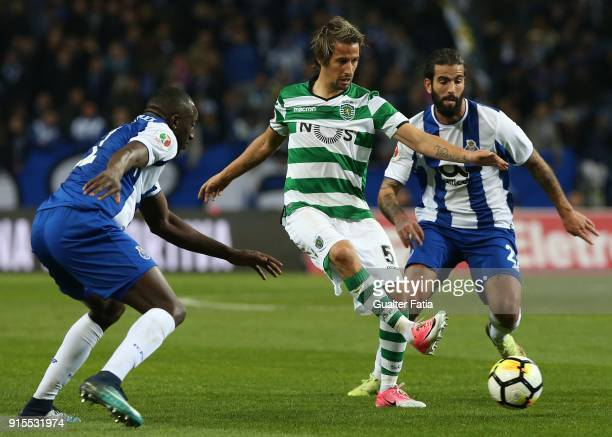 Sporting CP defender Fabio Coentrao from Portugal with FC Porto midfielder Sergio Oliveira from Portugal in action during the Portuguese Cup Semi...